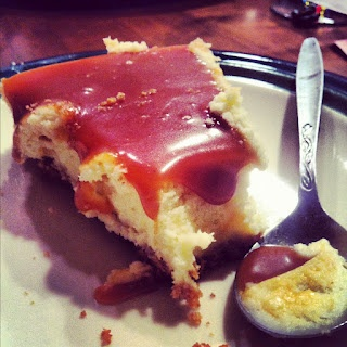 White chocolate cheesecake with salted caramel sauce.....heaven!