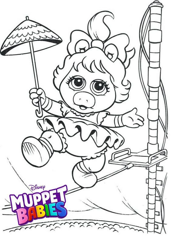 Baby Miss Piggy From Muppet Babies Coloring Pages Baby Coloring Pages Muppet Babies Muppets