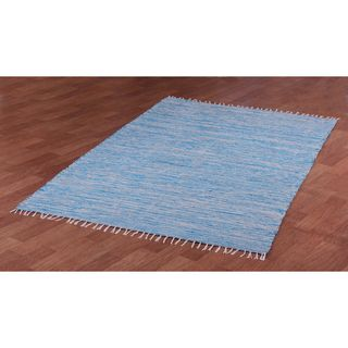 Aqua Reverisble Chenille Flatweave Rug (8' x 10') | Overstock.com Shopping - The Best Deals on 7x9 - 10x14 Rugs