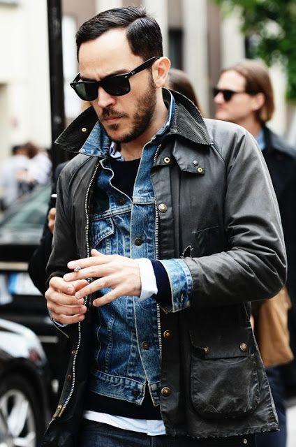 Dupla jaqueta: jeans + couro