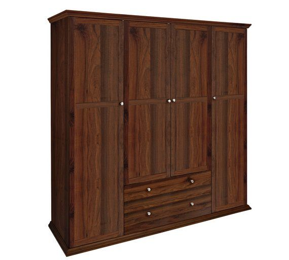 Buy HOME Canterbury 4 Door 2 Drawer Wardrobe - Walnut Effect at Argos.co.uk, visit Argos.co.uk to shop online for Wardrobes, Bedroom furniture, Home and garden