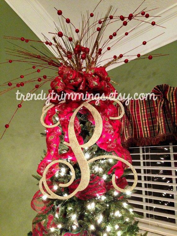 20 Monogram Letter Interlocking Script Initial by TrendyTrimmings Perfect for a monogrammed tree topper!