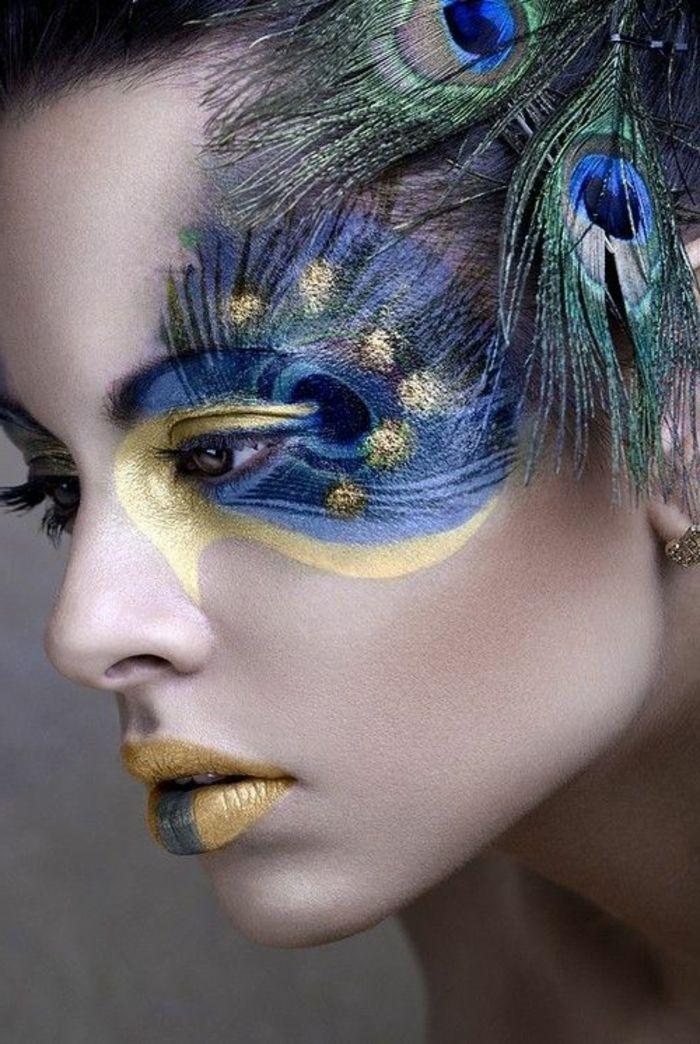 le meilleur maquillage artistique professionnel avec plumes