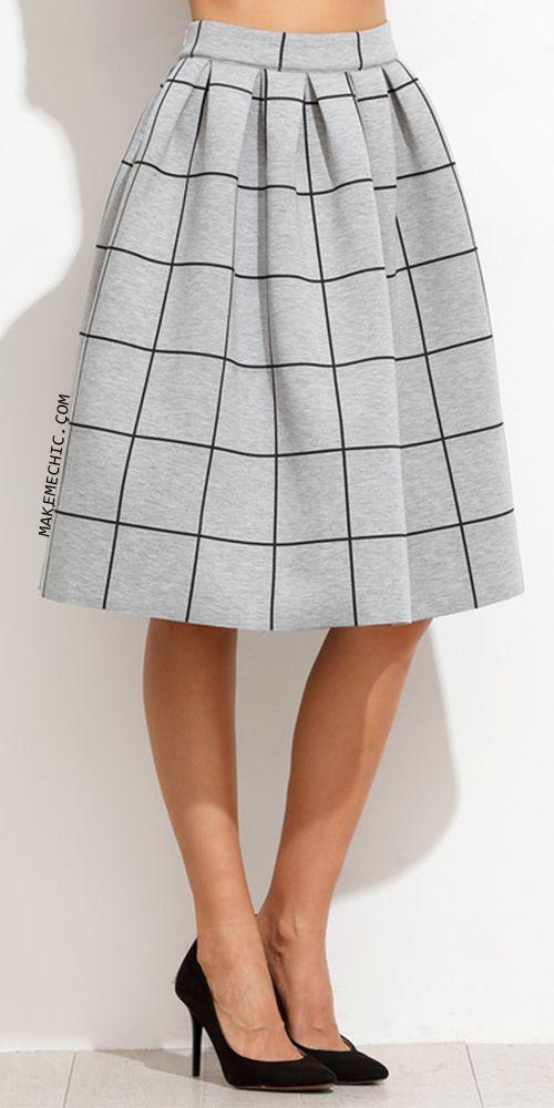 Grey Grid Box Pleated Skirt