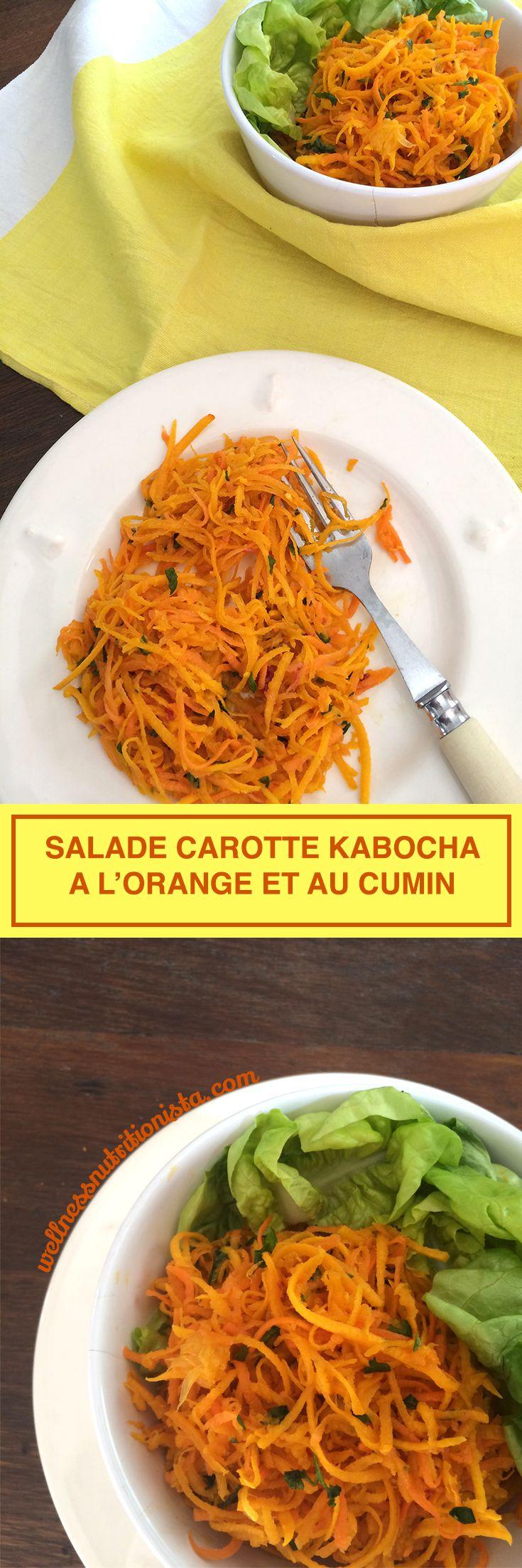 Recette de salade de carottes râpées et courge kabocha (potiron, citrouille, butternut) à l'orange et au cumin #wellnessnutritionista #food #recipe #entrée #salade
