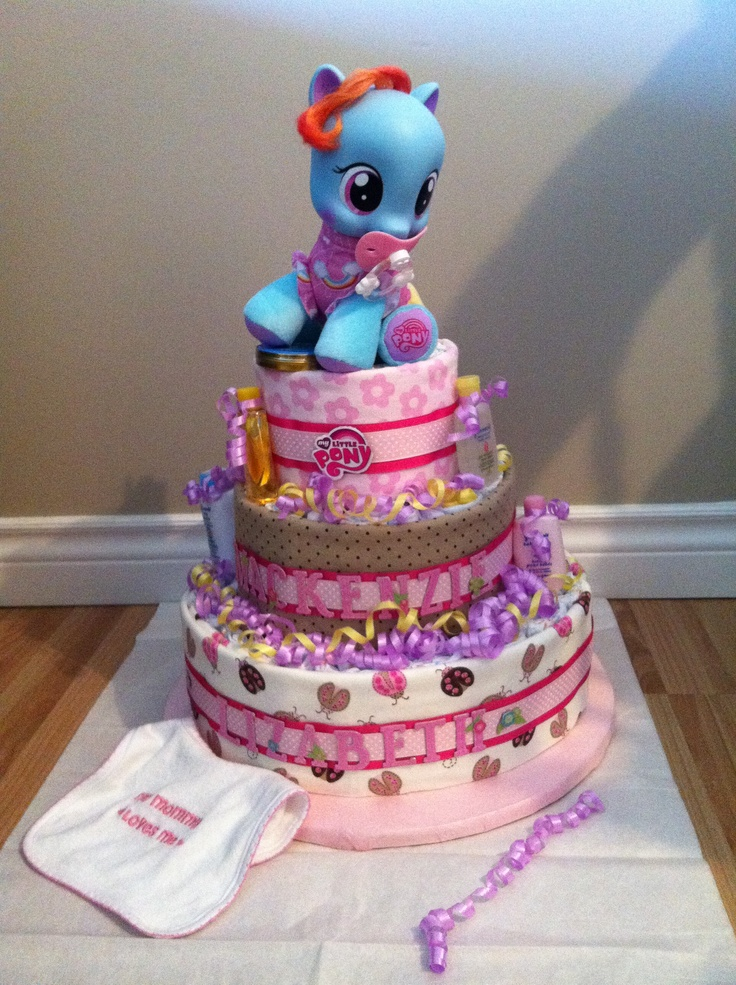 Diaper Pyramid For Baby Shower Part - 35: Diaper Cake - My Little Pony For My Wonderful Sister In Lawu0027s Shower!