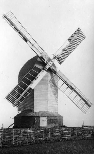The post mill at Ringmer, around 1910 . This Mill collapsed in 1926 and today only the main post survives re erected with new quarter bars.