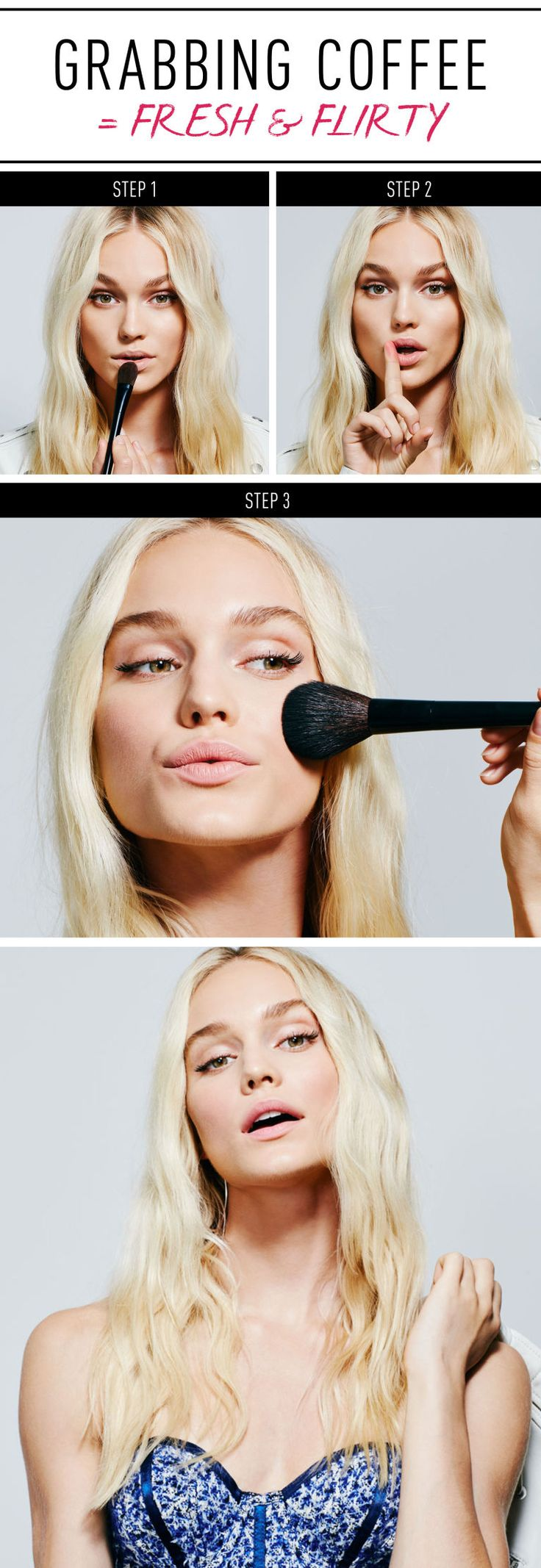 """Grabbing Coffee = Fresh & Flirty Soft pink lips and flushed cheeks read first-date sweet. Step 1: Prime Time Using a foundation brush, sweep liquid foundation, like Avon Ideal Flawless Invisible Coverage Liquid Foundation, all over the face, using what's left across the lips. """"This creates an even tone as a base for the lipstick,"""" says Oquendo. Step 2: Dot & Blot Apply a natural pink lipstick, like Avon Perfectly Matte Lipstick in """"Pure Pink,"""" which delivers a high color payoff that's ..."""