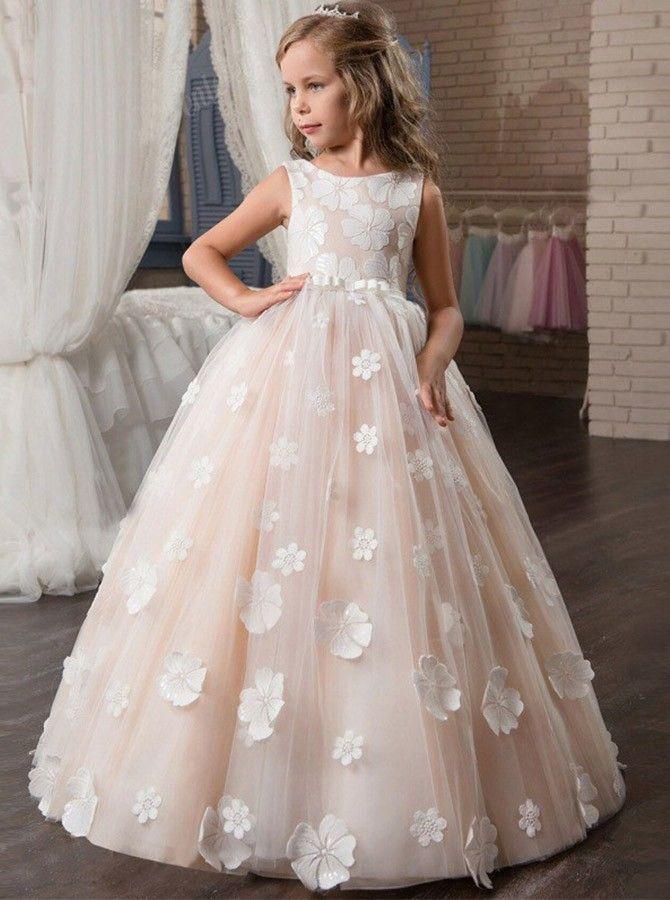 A Line Scoop Neck Sleeveless Pink Floor Length Flower Girl Dress