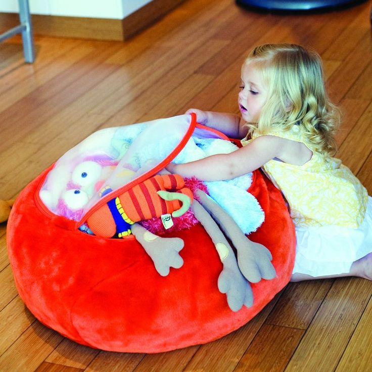 How cool is this...a beanbag to store stuffed animals
