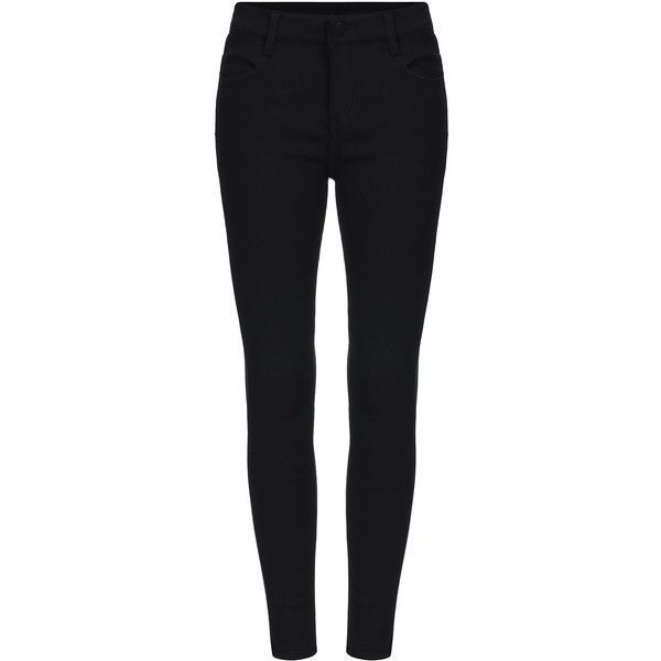 SheIn(sheinside) Black Skinny Elastic Pant (£13) ❤ liked on Polyvore featuring pants, jeans, sheinside, black, skinny fit pants, long pants, skinny pants, stretchy pants and elastic pants