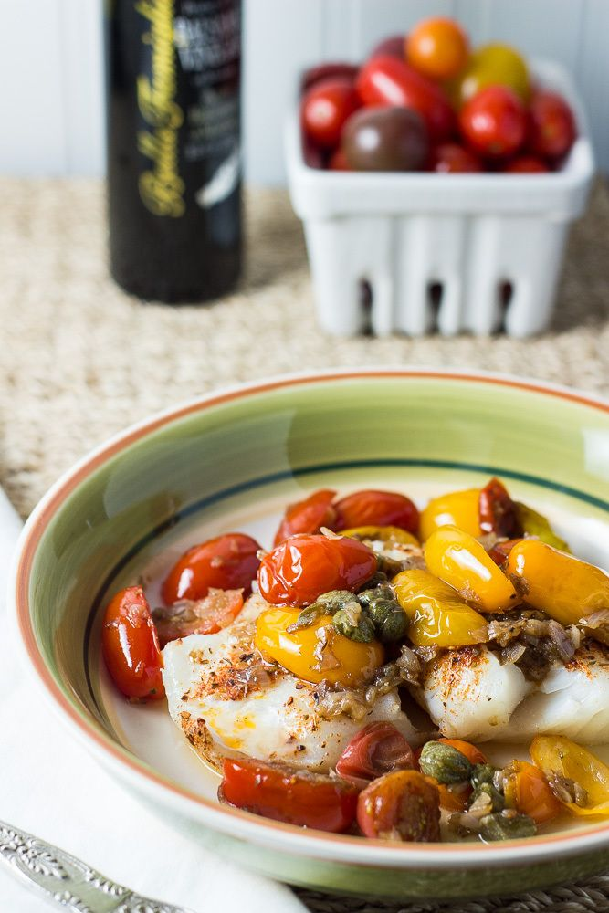 Striped Bass Fillets with Tomatoes & Capers - The Beach House Kitchen