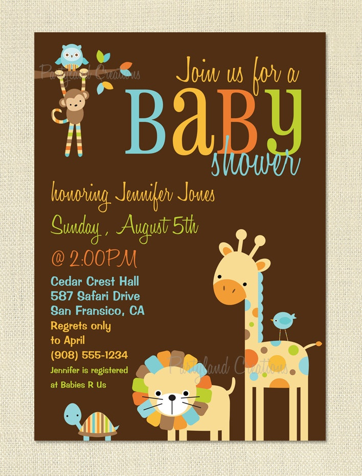 jungle theme baby shower invitation sayings%0A Jungle Animal Friends Baby Shower Invite  Printable DIY Invitation     versions  You Print