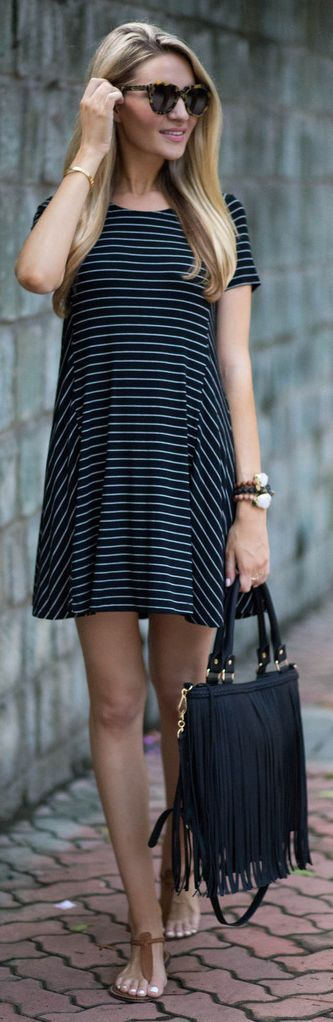 Blonde Expeditions Striped Swing Little Dress