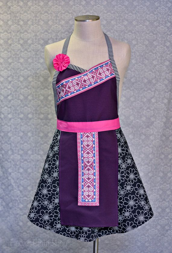 MADE TO ORDER Heart Apron in Mulberry, Pink / Hmong Inspired on Etsy, $32.00