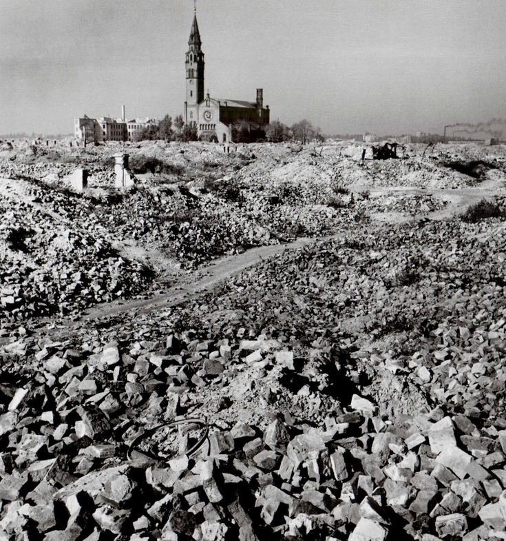 The frightening ruins of the ghetto, Warsaw, Poland, October 1948. By Robert Capa.