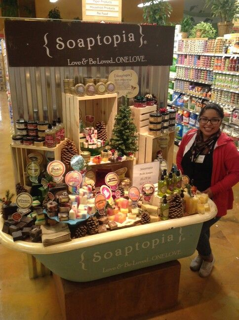 Vanessa with our brand new display in New Leaf Market in Half Moon Bay.
