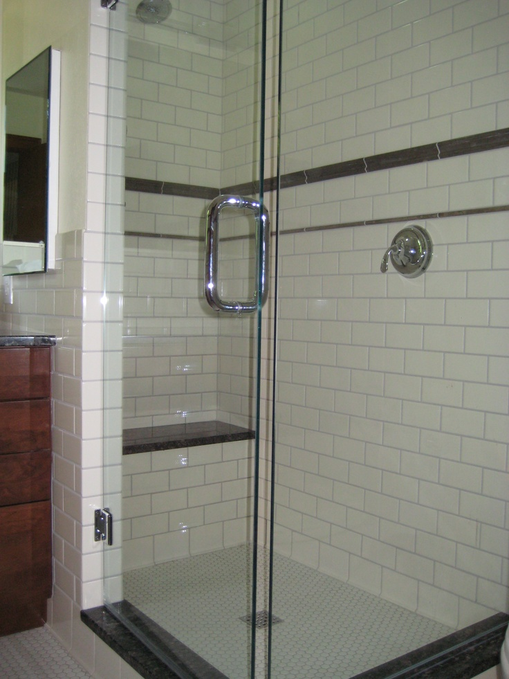 White Subway Tile Shower Carry Color Onto Accent Bench