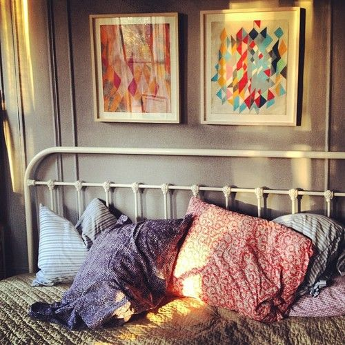 love they grey with all the colors!Wall Art, Headboards, Bedrooms Design, Colors, Beds Room, Beds Frames, Bedrooms Decor, Pillows, Iron Beds