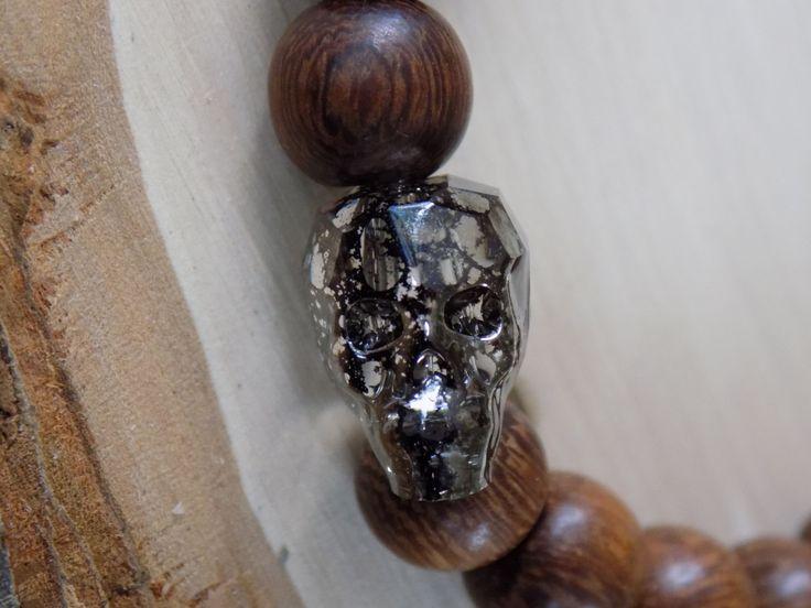 4MEN   Handsome Stretchy Cacao Wood Bracelet with Swarovski Crystal Black Patina Skull by pearlzsisterz on Etsy