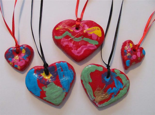 Salt Dough Heart Necklaces