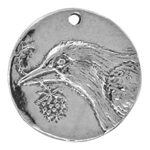 28.5mm Pewter Dickinson Bird Coin Pendant by Green Girl Studios | Fusion Beads #greengirl Earth Day