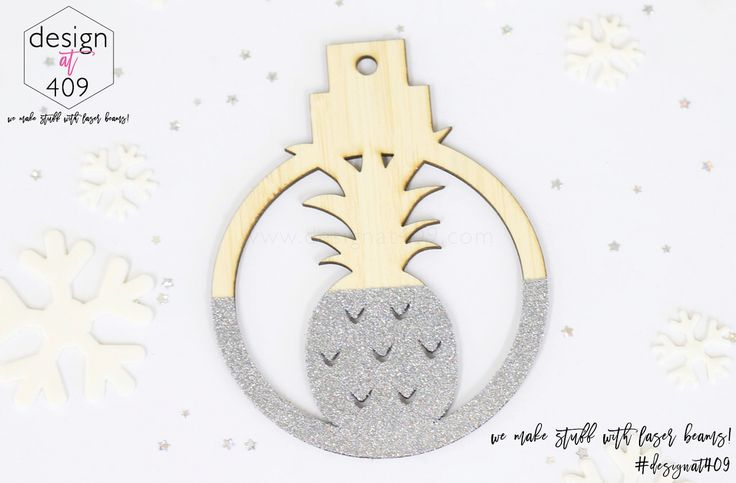Pineapple Christmas Tree Bauble : Bamboo With Glitter : Design at 409