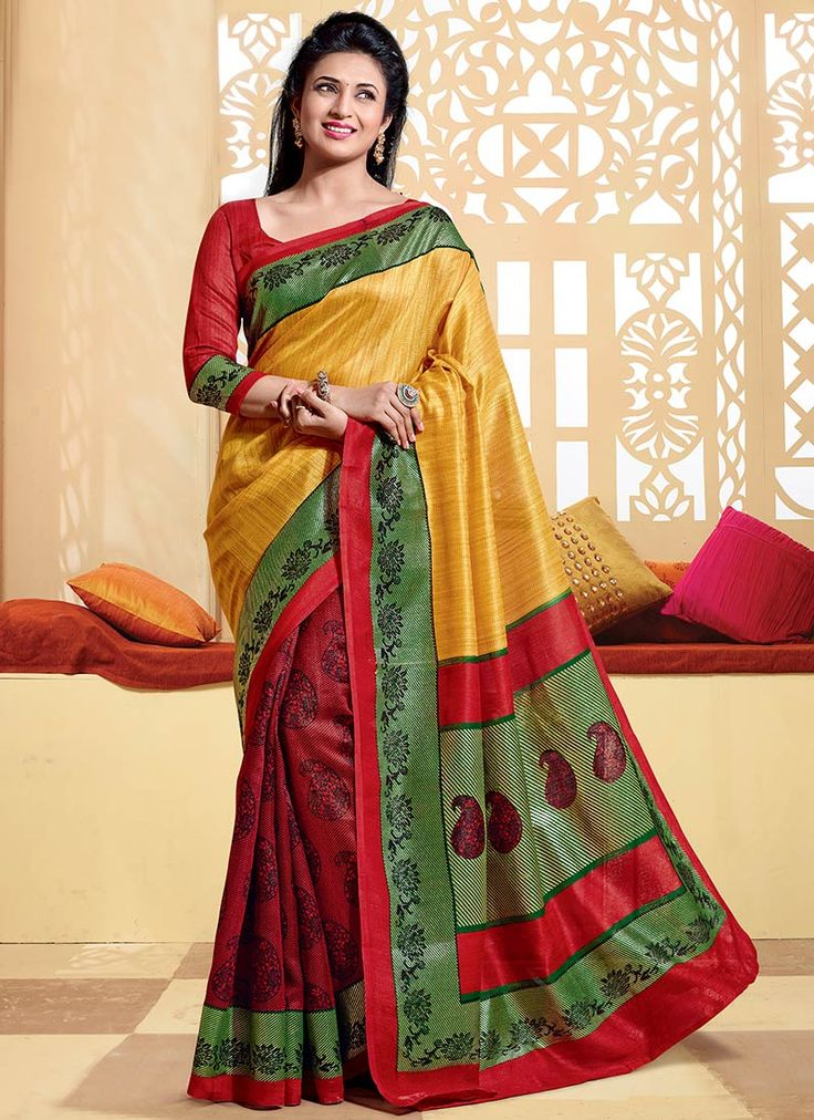 Buy Red N Yellow Divyanka Tripathi Half N Half Saree online from the wide collection of half-n-half-saree.  This Yellow | Red colored half-n-half-saree in Art Silk fabric goes well with any occasion. Shop online Designer half-n-half-saree from cbazaar at the lowest price.