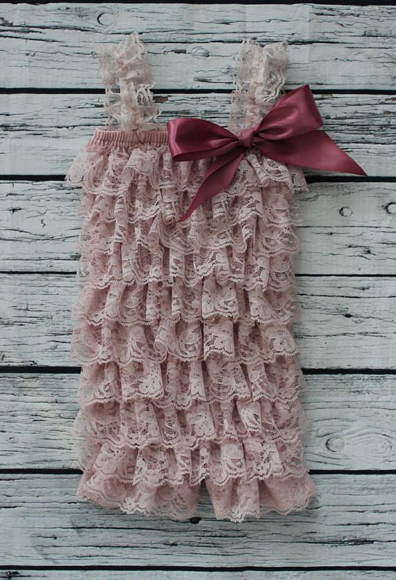Lace Baby Girl Romper Spring Dusty Rose First Birthday Photo