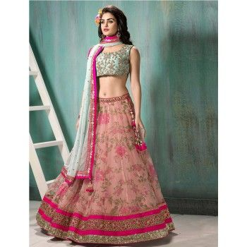 Net Lace Work Pink Floral Print Semi Sticthed Lehenga - FDS1532
