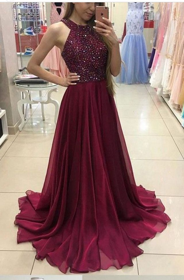 prom dresses,A-Line Halter Sweep Train Burgundy Chiffon Prom Dress with Beading