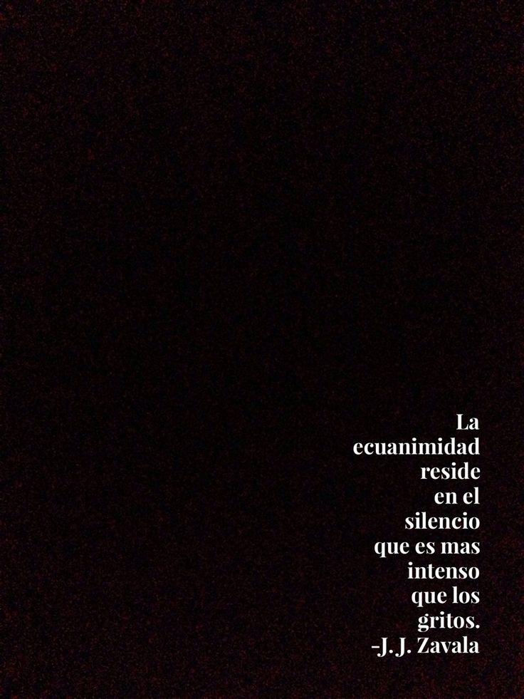 La ecuanimidad reside en el silencio que es mas intenso que los gritos. J. J. Zavala