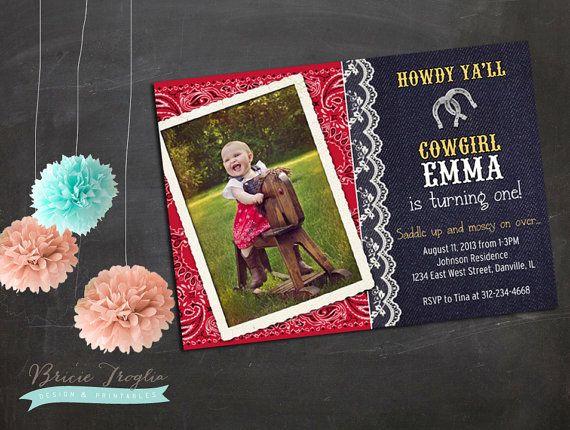 Cowgirl Rodeo Birthday Party Invitation by BricieTrogliaDesign, $15.00