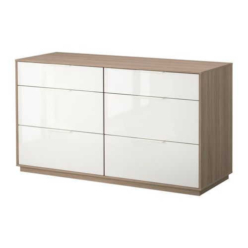 NYVOLL Chest of 6 drawers - light grey/white  - IKEA