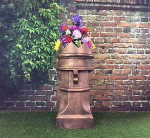 Coronation-Chimney-Pot-Garden-Planter-Bronze-patio-flower-pot-display-lifesize