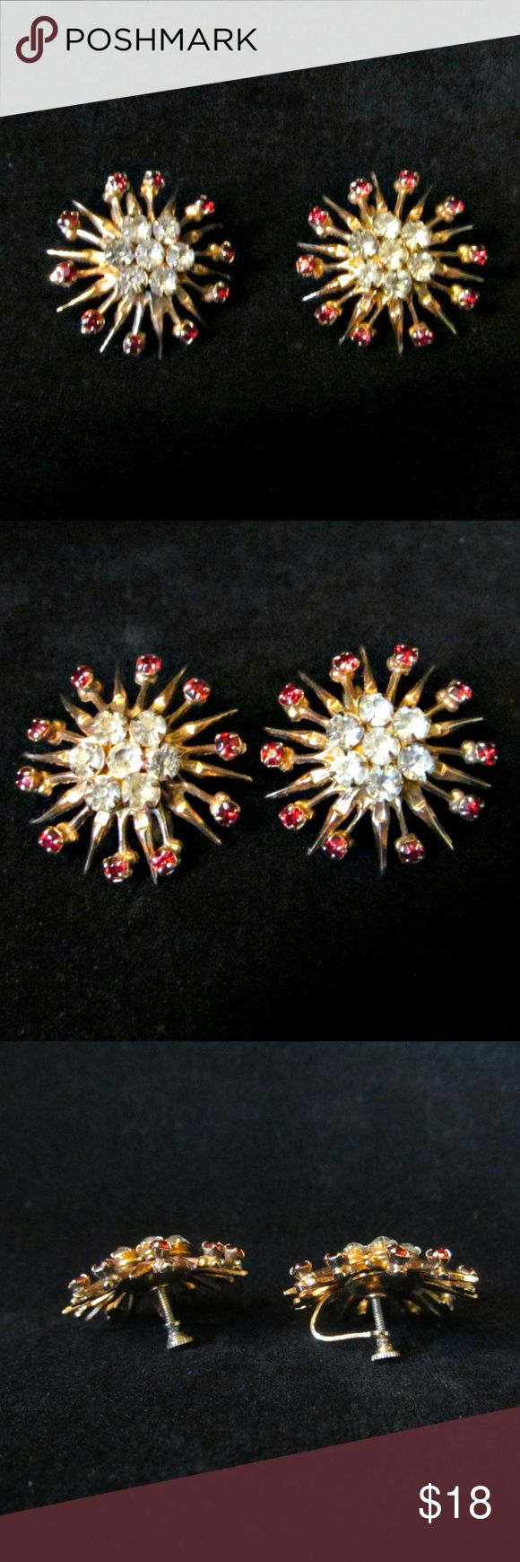 "Vintage '50s Starburst Red Rhinestone Earrings Vintage '50s Starburst Rhinestone Earrings Darling lightweight goldtone earrings with red and clear rhinestones and screw backs. Measure approx. 1"" in diameter. Condition: Very good vintage. Vintage Jewelry Earrings"