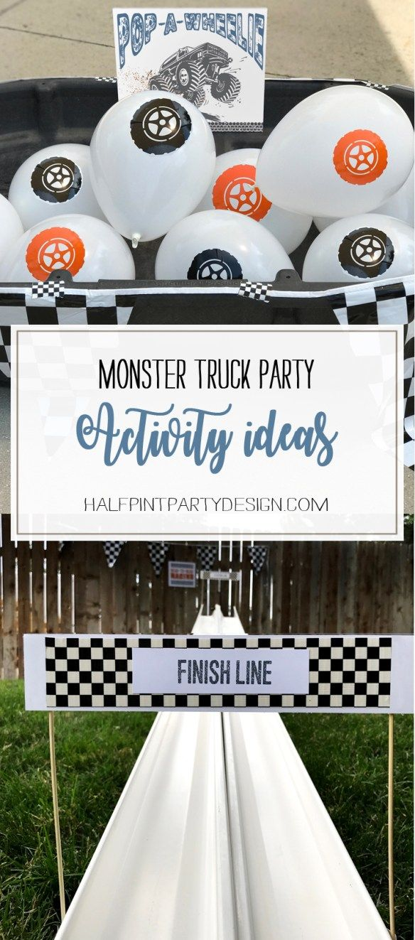 Five great stations for a really fun birthday party. Monster truck party activity ideas - Halfpint Design