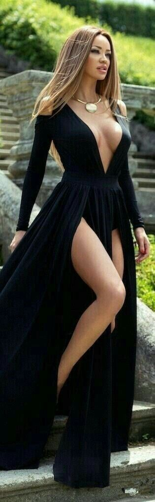 Sexy Prom Dress, Prom Dress with Long Sleeves, Prom Dress with Split Front, black Prom Dress Sexy Long Sleeve Deep V-Neck 2017 Prom Dress Slit Party Gowns