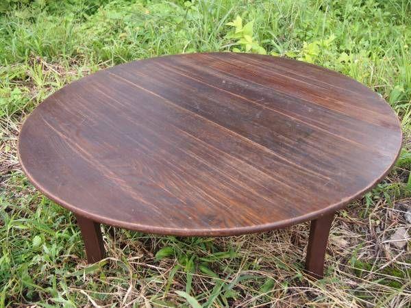 山奥の旧家より 古い丸ちゃぶ台 欅 折りたたみ式 レトロ_がっちりした作りです。