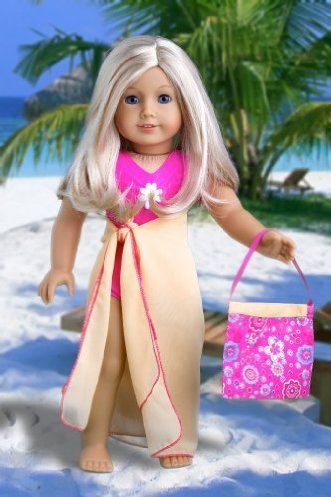 DreamWorld Collections Beach Party - 3 piece outfit includes pink swimsuit, yellow wrap and beach bag - 18 Inch American Girl Doll Clothes : Activewear Doll Clothes