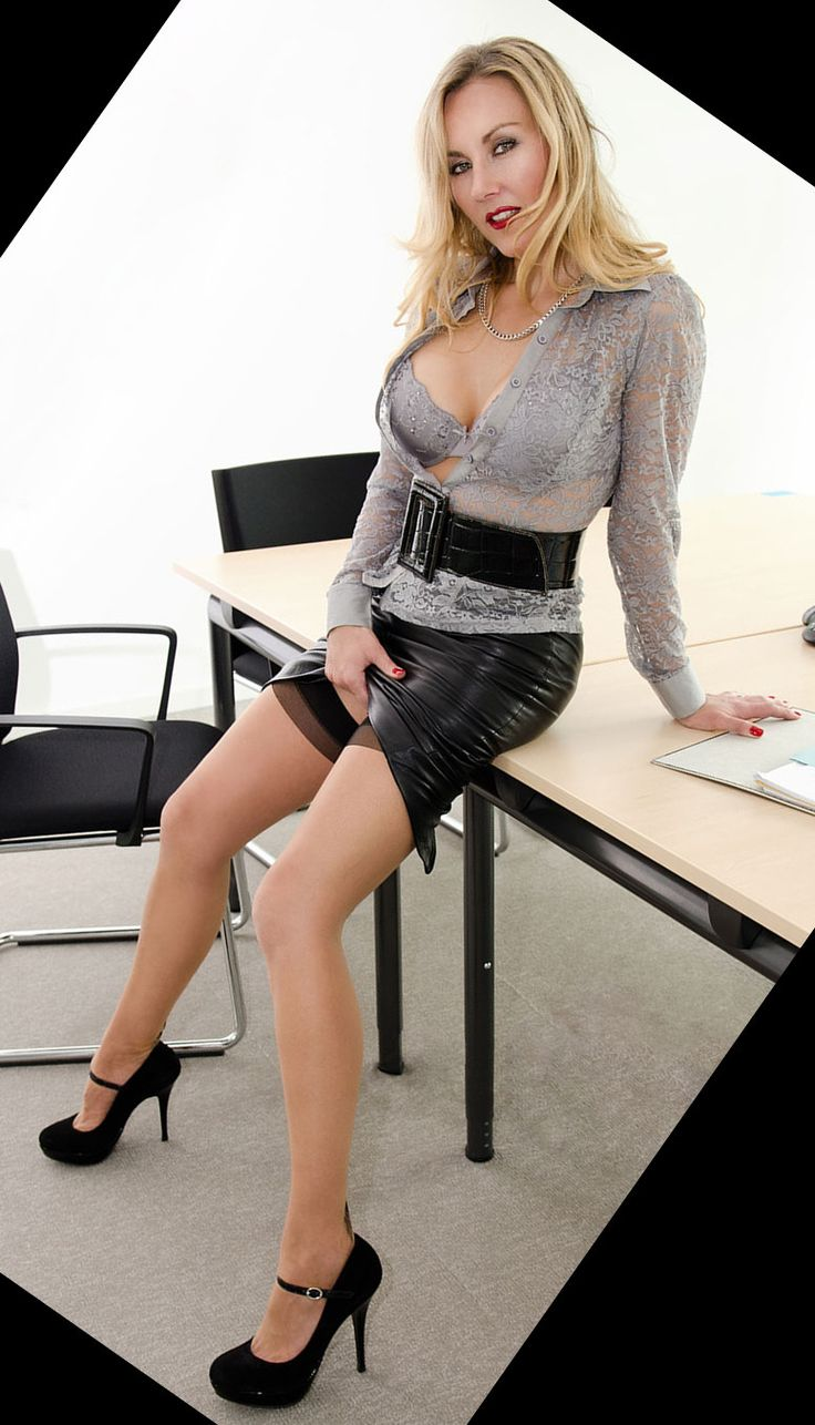 Milf in leather coset heels