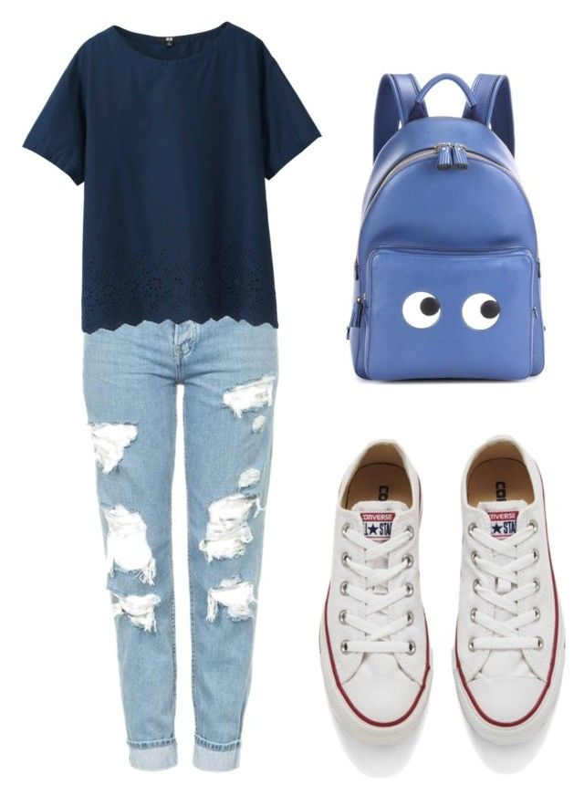 """"" by alejandra-vega-1 on Polyvore featuring moda, Topshop, Uniqlo, Converse y Anya Hindmarch"
