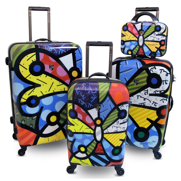 LOVE Romero Britto's butterfly pattern suitcase. $200.00