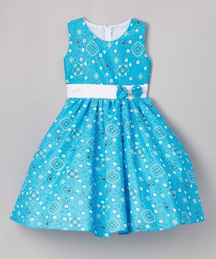 Take a look at this Aqua & White Paisley A-Line Dress - Toddler today!