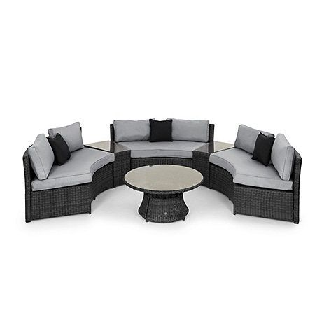 Perfect for entertaining, this half moon outdoor sofa set is contemporary, stylish and practical for continued outdoor use. It has a sturdy rust-proof aluminium frame and is finished in a weather and water-resistant woven PU which mimics the look of grey rattan. The tables are glass-topped and the seats have thick cushions with removable fabric covers.