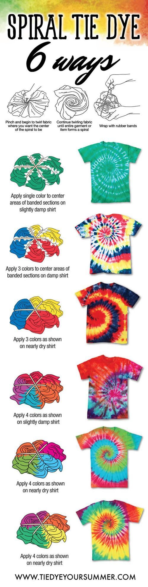 Tie Dye your summer with one of these cool spiral tie dudufue shirt ideas.  The way you dye you spiral creates a different tie dye pattern/affect like shown.  Try these easy techniques for your next tie dye party!