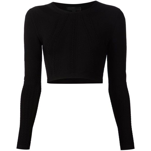 Cushnie Et Ochs cropped cable knit top ($975) ❤ liked on Polyvore featuring tops, shirts, crop top, sweaters, black, black shirt, shirts & tops, crop shirts and black top