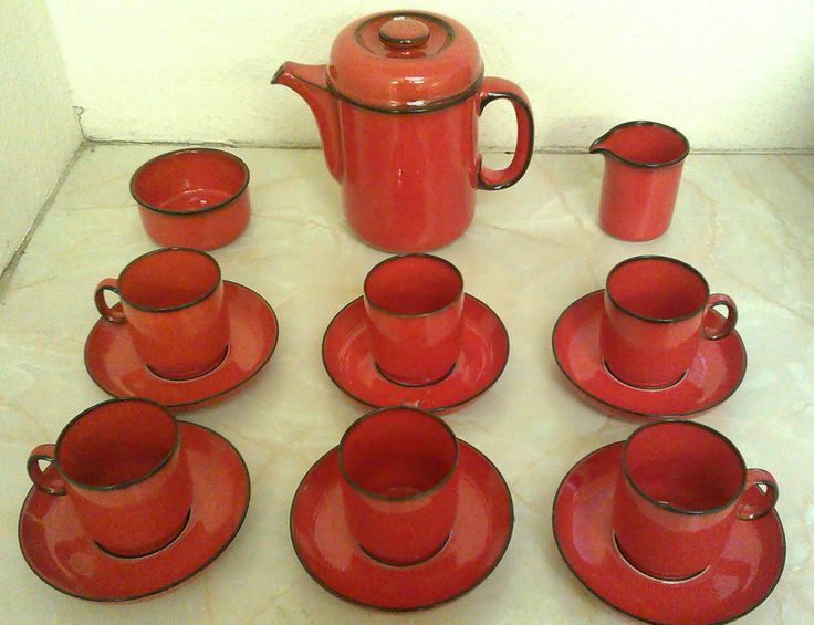 Rare Vintage 1970s Thomas Rosenthal Germany Scandic Line Flame 15/p Tea Service