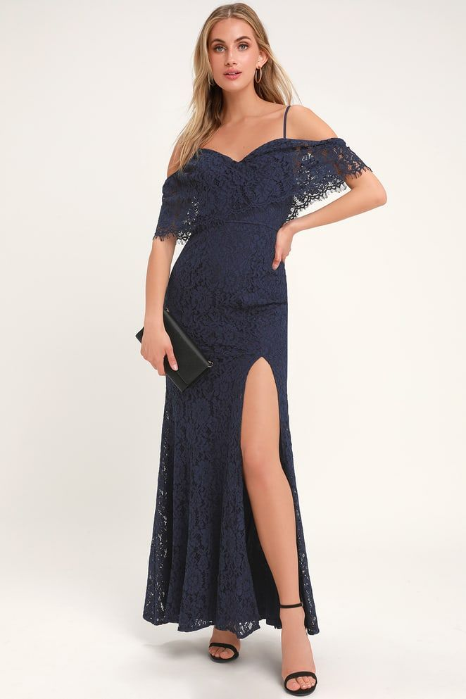 bb4585faf391 Caterina Navy Blue Lace Off-the-Shoulder Maxi Dress | Dresses in ...