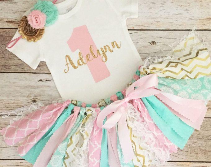 Tenue d'anniversaire rose, menthe et or avec bandeau, Tutu de menthe rose de tissu d'or, rose vert menthe et or premier anniversaire
